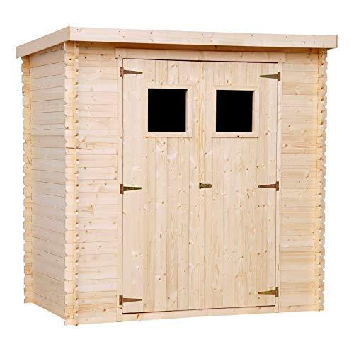TIMBELA M311 Gartenhaus - aus 19 mm Kiefern- / Fichtenholz Blockbohlen - Flachdach - 200 x 130 cm, 2.22 m² (ohne Fußboden)
