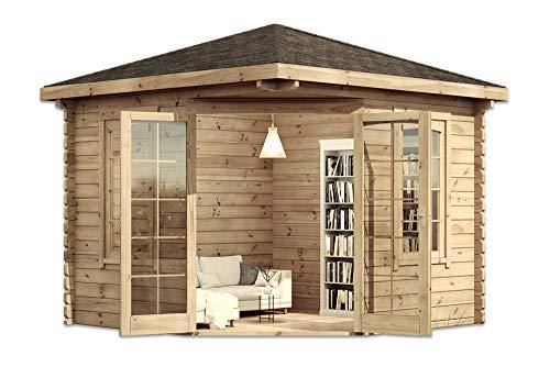 Alpholz 5-Eck Gartenhaus Victor aus Massiv-Holz | Gerätehaus mit 44 mm Wandstärke | Garten Holzhaus inklusive Montagematerial | Geräteschuppen Größe: 300 x 300 cm | Spitzdach