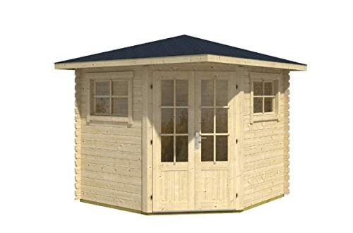 Alpholz 5-Eck Gartenhaus Sunny-B aus Massiv-Holz | Gerätehaus mit 28 mm Wandstärke | Garten Holzhaus inklusive Montagematerial | Geräteschuppen Größe: 250 x 250 cm | Spitzdach