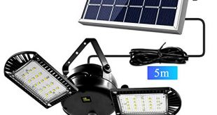 Solarleuchten 60 Led Solarlampe mit 5m Kabel fuer AussEn Innen 310x165 - Solarleuchten, 60 Led Solarlampe mit 5m Kabel für AußEn Innen Gartenhaus Pavillon , 800 lm Solar Hängeleuchte deckenleuchte Garten [Energieklasse A++]